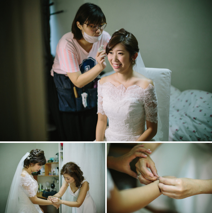 finishing touches by the bride