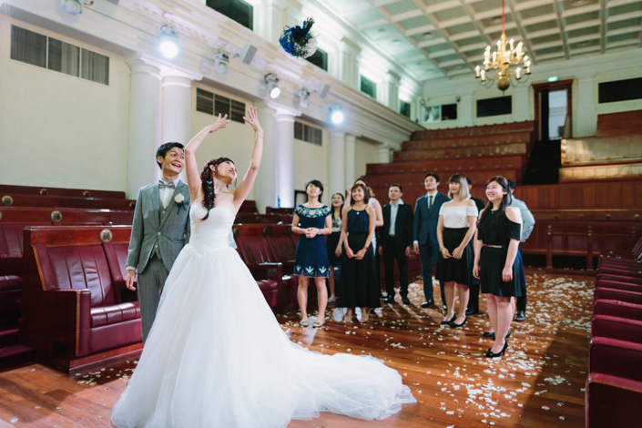 bouquet toss by the bride