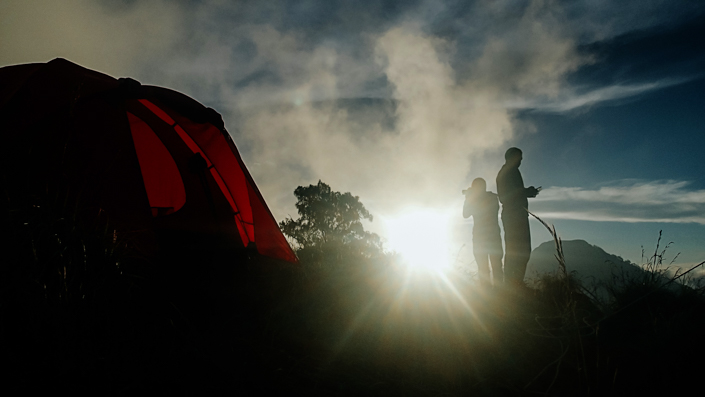 mt rinjani basecamp sunset