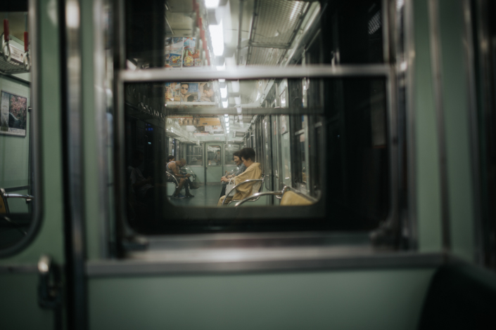 taking the subway in kyoto