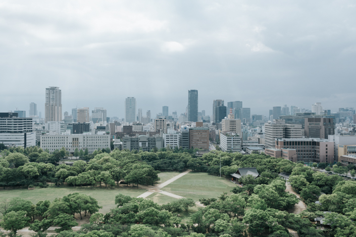 view from top level of osaka castle