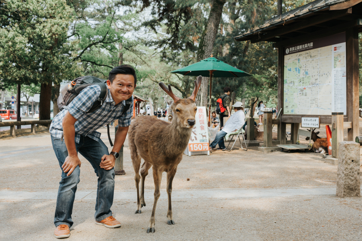 a photo with nara park deer